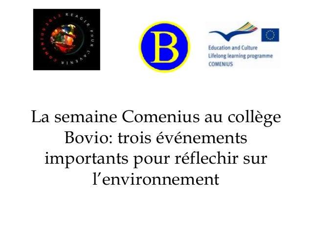 La semaine Comenius au collège Bovio: trois événements importants pour réflechir sur l'environnement