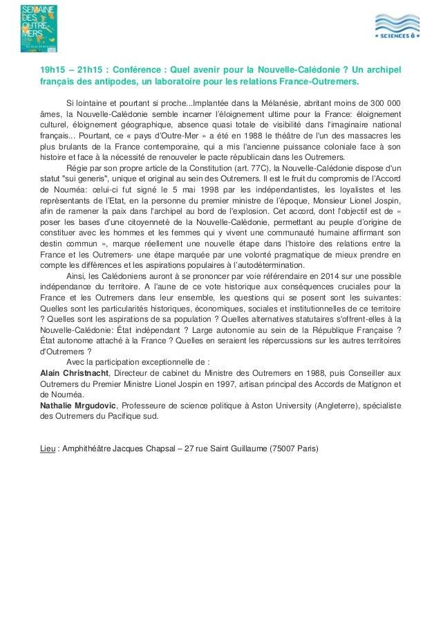 19h15 – 21h15 : Conférence : Quel avenir pour la Nouvelle-Calédonie ? Un archipel français des antipodes, un laboratoire p...