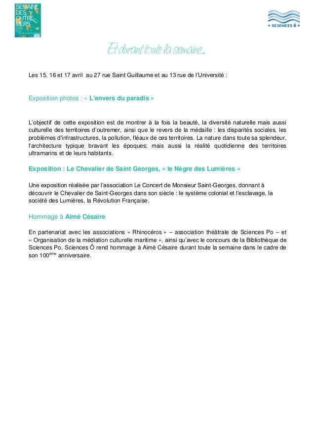 Les 15, 16 et 17 avril au 27 rue Saint Guillaume et au 13 rue de l'Université :  Exposition photos : « L'envers du paradis...