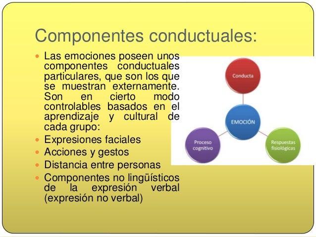 Componentes fisiológicos  Los otros componentes de las emociones son los fisiológicos e involuntarios, igual para todos: ...