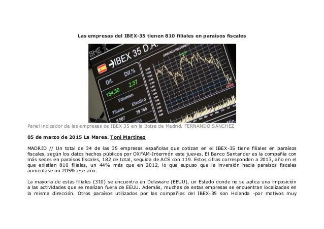 Las empresas del IBEX-35 tienen 810 filiales en paraísos fiscales Panel indicador de las empresas de IBEX 35 en la Bolsa d...
