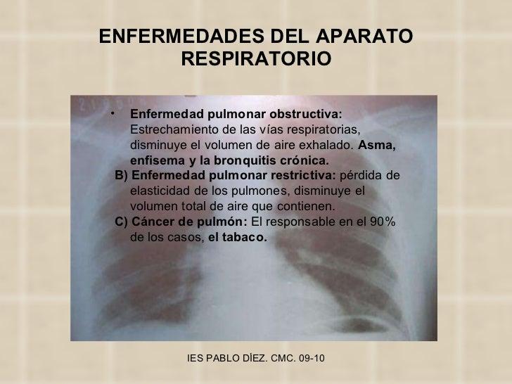 ENFERMEDADES DEL APARATO RESPIRATORIO <ul><li>Enfermedad pulmonar obstructiva:  Estrechamiento de las vías respiratorias, ...