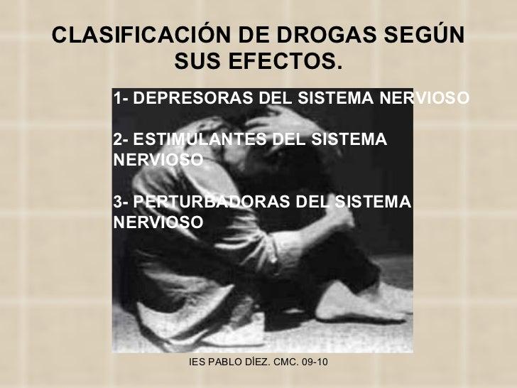CLASIFICACIÓN DE DROGAS SEGÚN SUS EFECTOS. 1- DEPRESORAS DEL SISTEMA NERVIOSO 2- ESTIMULANTES DEL SISTEMA NERVIOSO 3- PERT...
