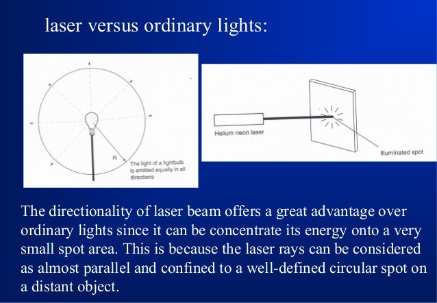 laser versus ordinary lights:  The directionality of laser beam offers a great advantage over ordinary lights since it can...