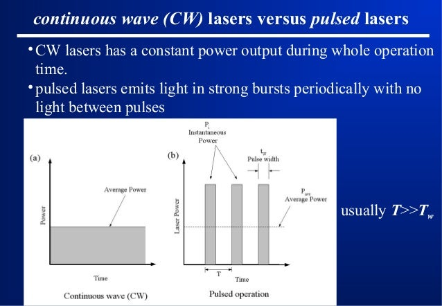 continuous wave (CW) lasers versus pulsed lasers • CW lasers has a constant power output during whole operation time. • pu...