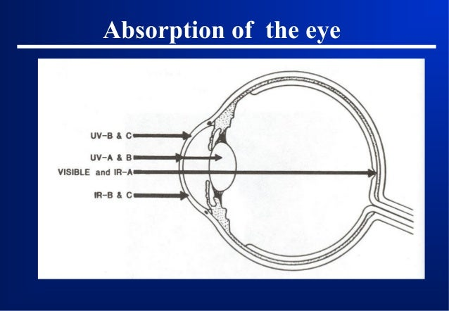 Hazards to the eye The cornea and lens •Cornea is accessible to danger of UV and most of IR lasers, •UV-A, UV-B (between 2...