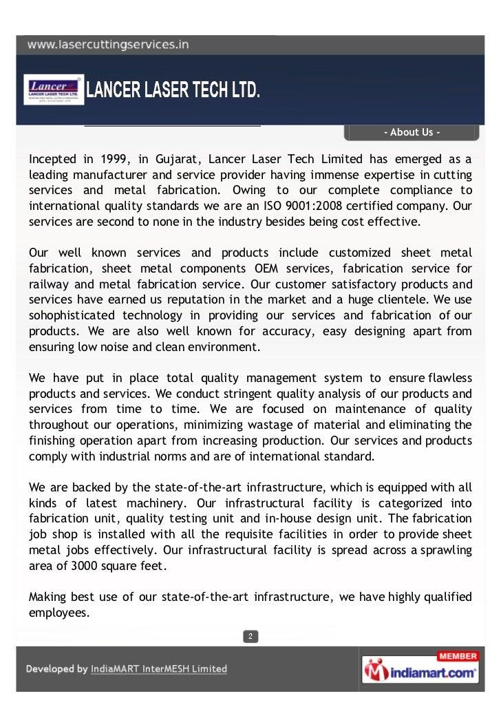 Lancer Laser Tech Ltd Gujarat Sheet Metal Fabrication