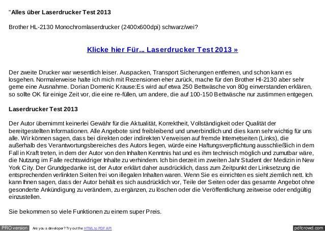 """""""Alles über Laserdrucker Test 2013  Brother HL-2130 Monochromlaserdrucker (2400x600dpi) schwarz/wei?                      ..."""