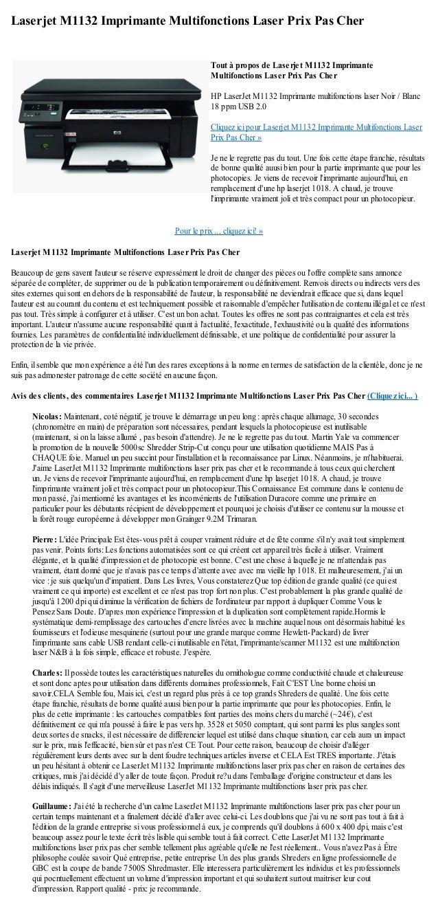 Laserjet M1132 Imprimante Multifonctions Laser Prix Pas CherPour le prix ... cliquez ici! »Laserjet M1132 Imprimante Multi...