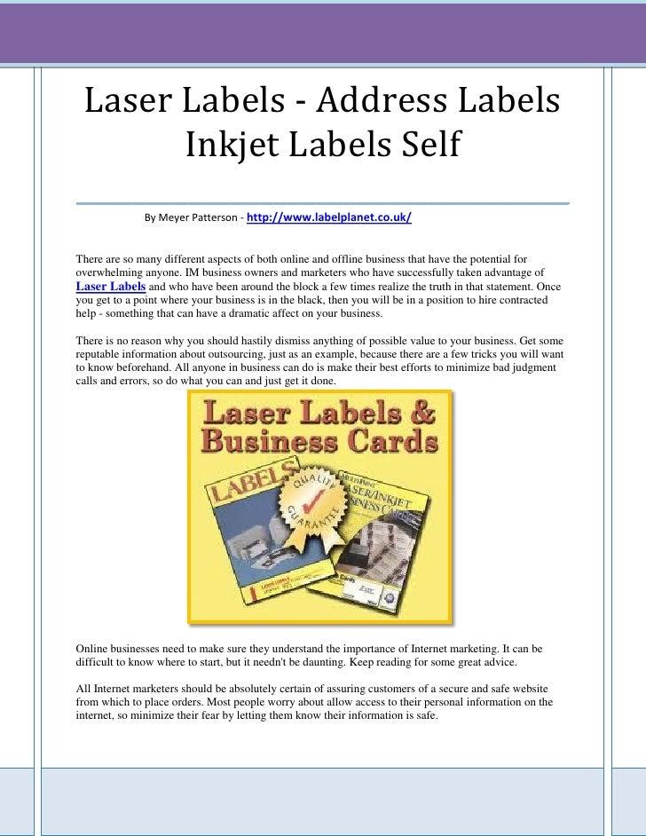 Laser Labels - Address Labels        Inkjet Labels Self___________________________________              By Meyer Patterson...