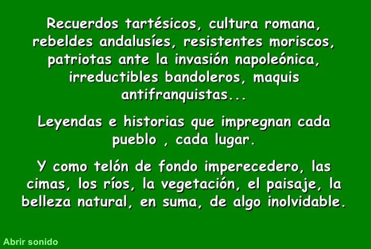 Recuerdos tartésicos, cultura romana, rebeldes andalusíes, resistentes moriscos, patriotas ante la invasión napoleónica, i...
