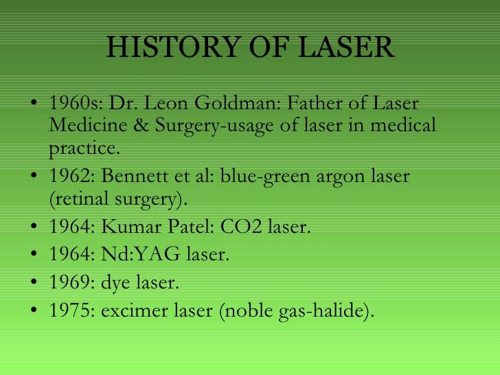 history of the laser Title: laser user medical history and examination form with instructions subject: laser safety last modified by: webster, maria-gracia a created date.