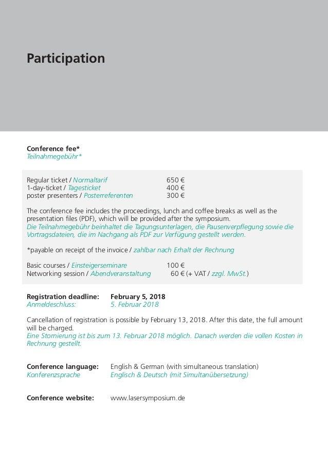 Laser Symposium 2018 Dresden Alemania Programa General