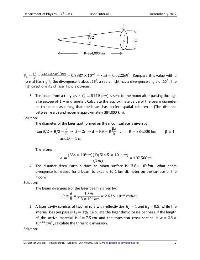 Laser Tutorial 3 December 11 2012