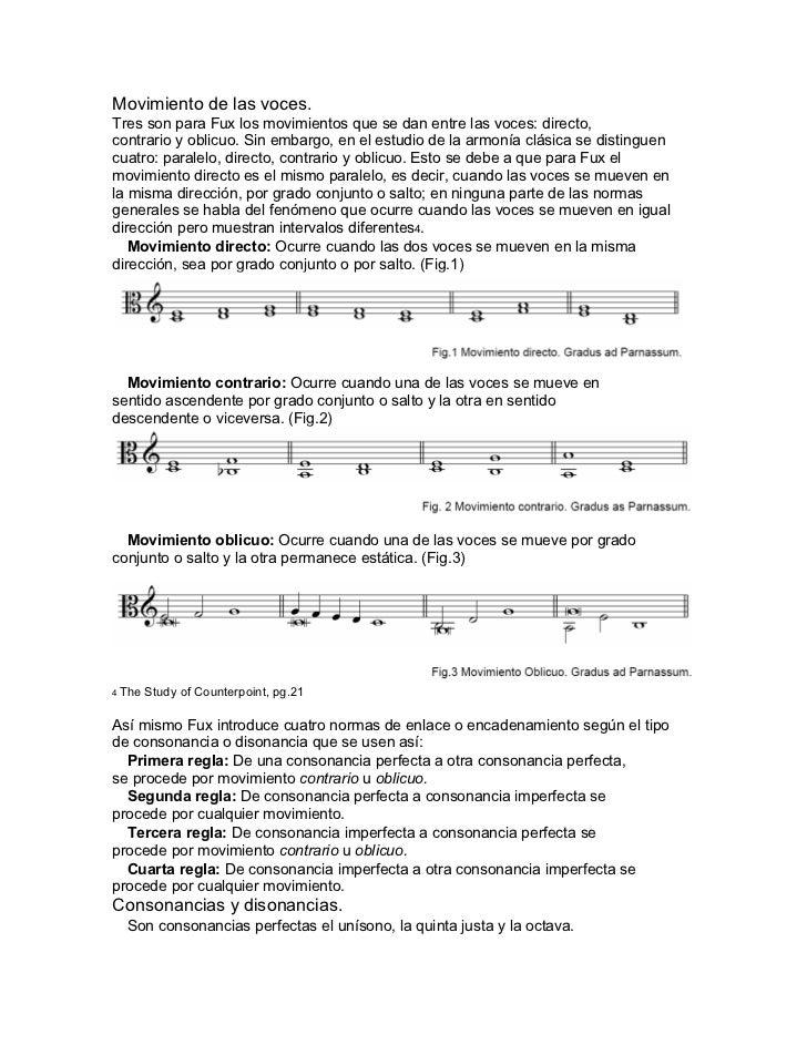 Movimiento de las voces.Tres son para Fux los movimientos que se dan entre las voces: directo,contrario y oblicuo. Sin emb...