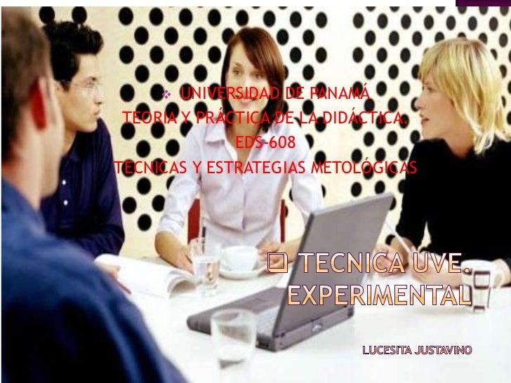 <ul><li>UNIVERSIDAD DE PANAMÁ</li></ul>TEORIA Y PRÁCTICA DE LA DIDÁCTICA.<br />EDS-608<br />TECNICAS Y ESTRATEGIAS METOLÓG...