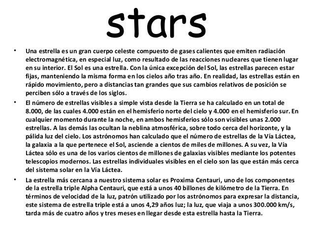 •                                 stars    Una estrella es un gran cuerpo celeste compuesto de gases calientes que emiten ...