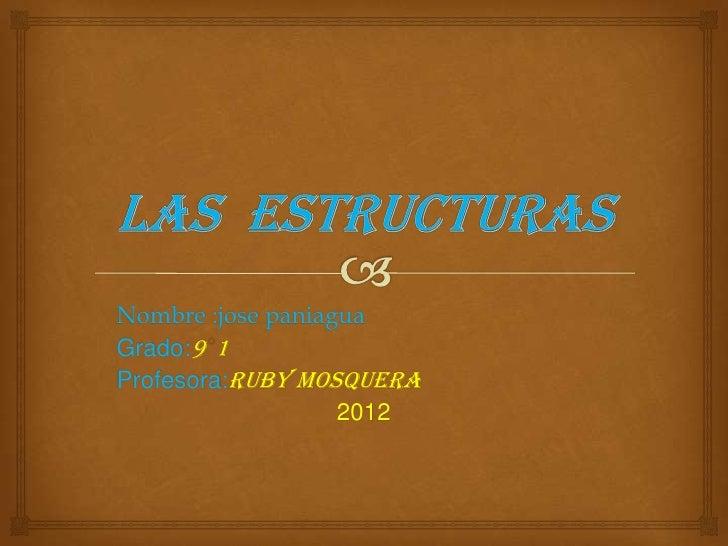 Nombre :jose paniaguaGrado:9 1Profesora:ruby mosquera                   2012