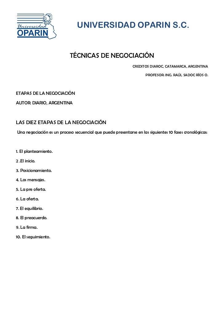 UNIVERSIDAD OPARIN S.C.                            TÉCNICAS DE NEGOCIACIÓN                                                ...