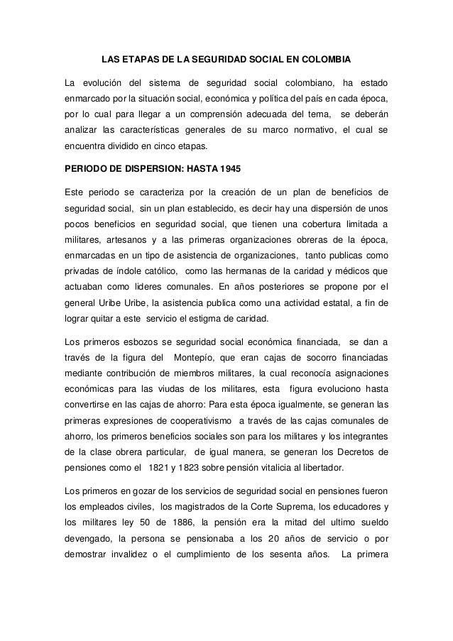 Las etapas de la seguridad social en colombia