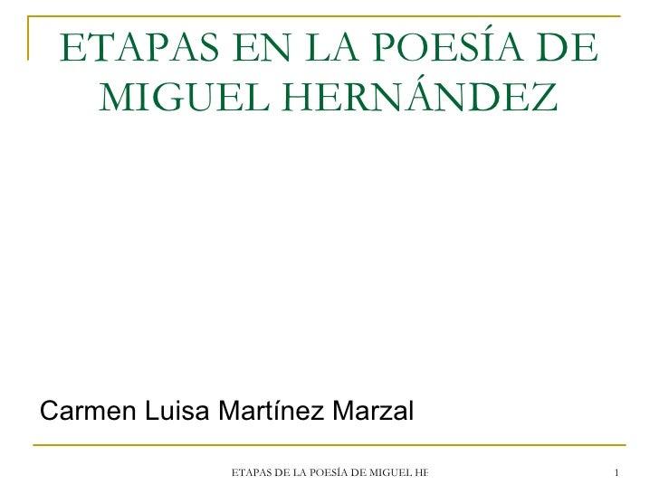 ETAPAS EN LA POESÍA DE MIGUEL HERNÁNDEZ <ul><li>Carmen Luisa Martínez Marzal </li></ul>