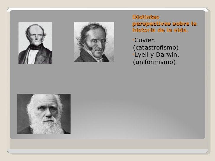 Distintas perspectivas sobre la historia de la vida. <ul><li>Cuvier. (catastrofismo) </li></ul><ul><li>Lyell y Darwin. (un...