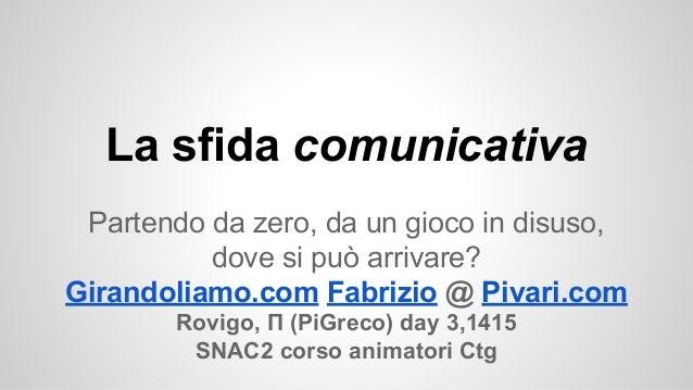 La sfida comunicativa Partendo da zero, da un gioco in disuso, dove si può arrivare? Girandoliamo.com Fabrizio @ Pivari.co...