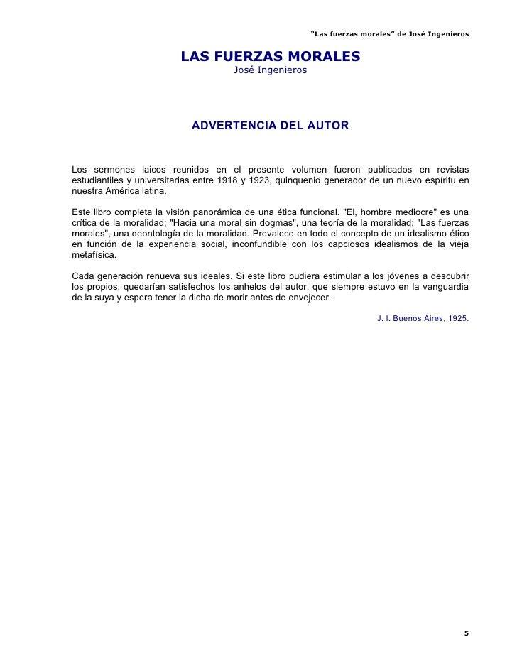 """""""Las fuerzas morales"""" de José Ingenieros                            LAS FUERZAS MORALES                                   ..."""