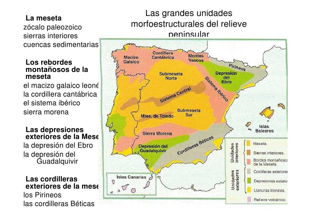 Las grandes unidades  La meseta zócalo paleozoico          morfoestructurales del relieve sierras interiores              ...