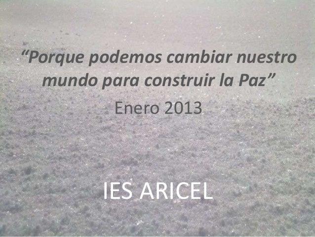 """""""Porque podemos cambiar nuestro  mundo para construir la Paz""""          Enero 2013         IES ARICEL"""