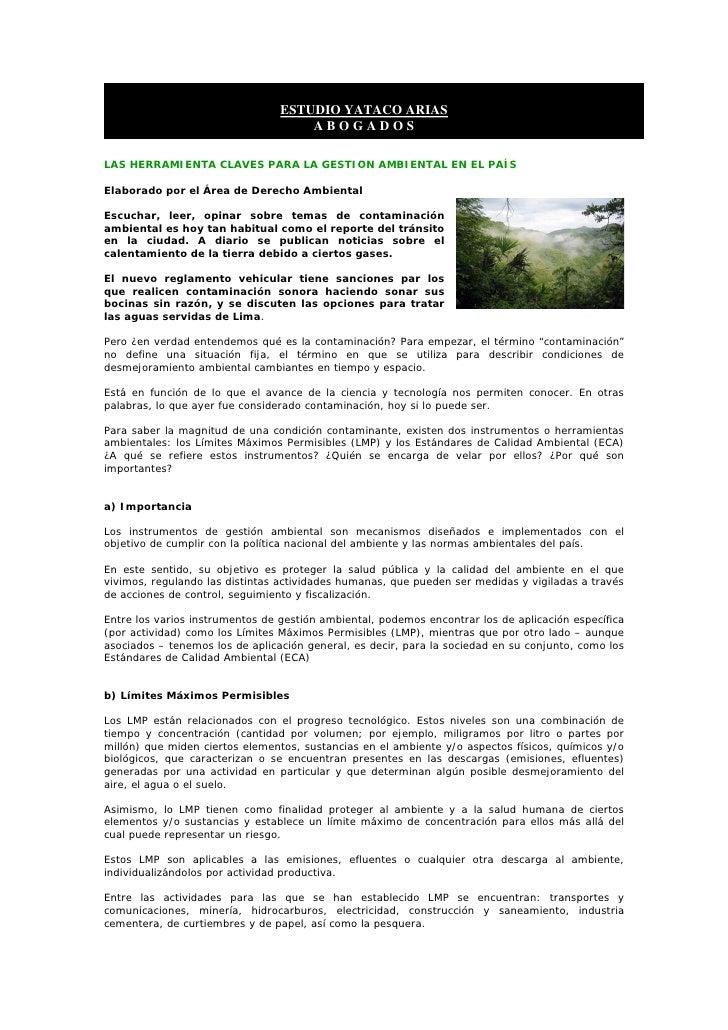 ESTUDIO YATACO ARIAS                                      ABOGADOS  LAS HERRAMIENTA CLAVES PARA LA GESTION AMBIENTAL EN EL...