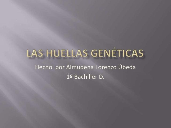 las huellas genéticas<br />Hecho  por Almudena Lorenzo Úbeda<br />1º Bachiller D.<br />