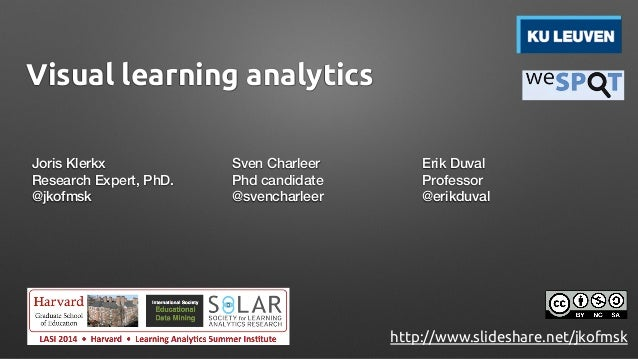 Visual learning analytics Joris Klerkx Research Expert, PhD. @jkofmsk Sven Charleer Phd candidate @svencharleer Erik Duval...