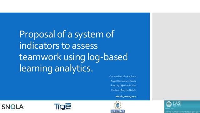 Proposal of a system of indicators to assess teamwork using log-based learning analytics. Carmen Ruiz-de-Azcárate Ángel He...