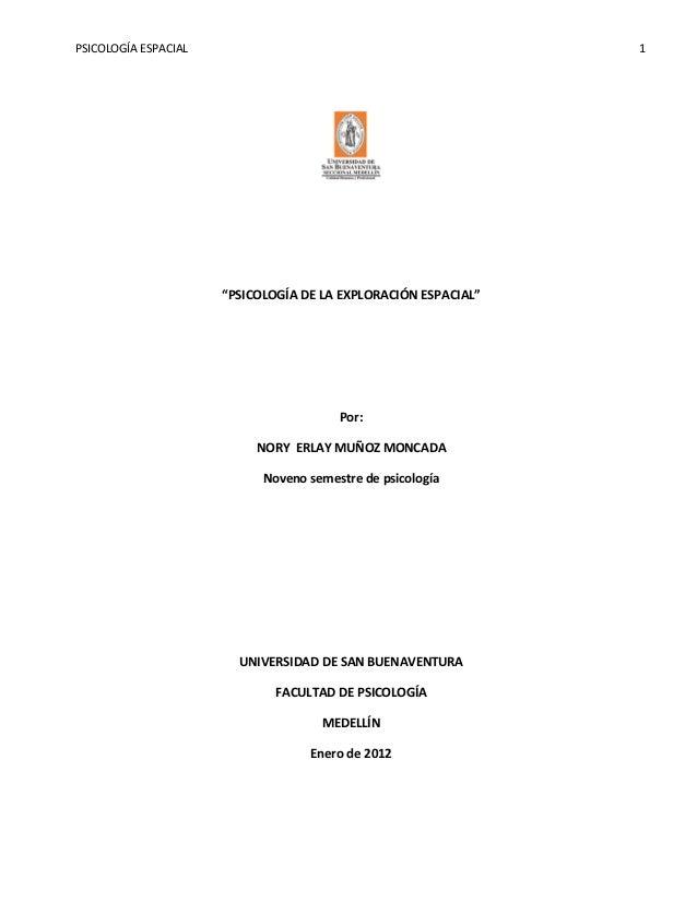 """PSICOLOGÍA ESPACIAL                                             1                      """"PSICOLOGÍA DE LA EXPLORACIÓN ESPAC..."""