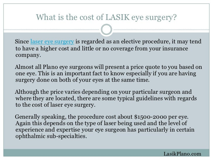 LASIK Surgery Plano - How Much Will It Cost?