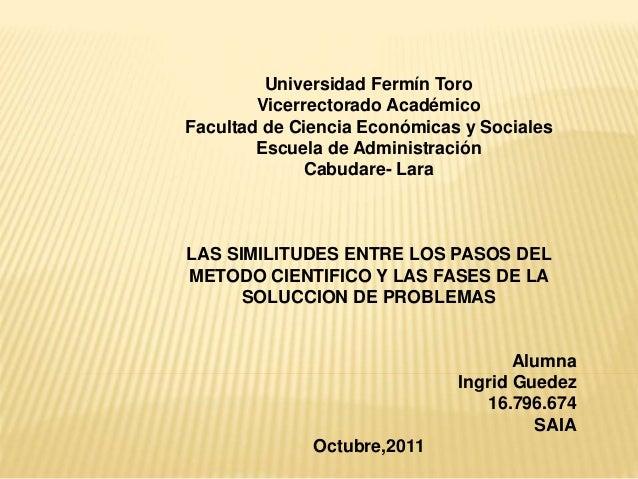Universidad Fermín Toro Vicerrectorado Académico Facultad de Ciencia Económicas y Sociales Escuela de Administración Cabud...
