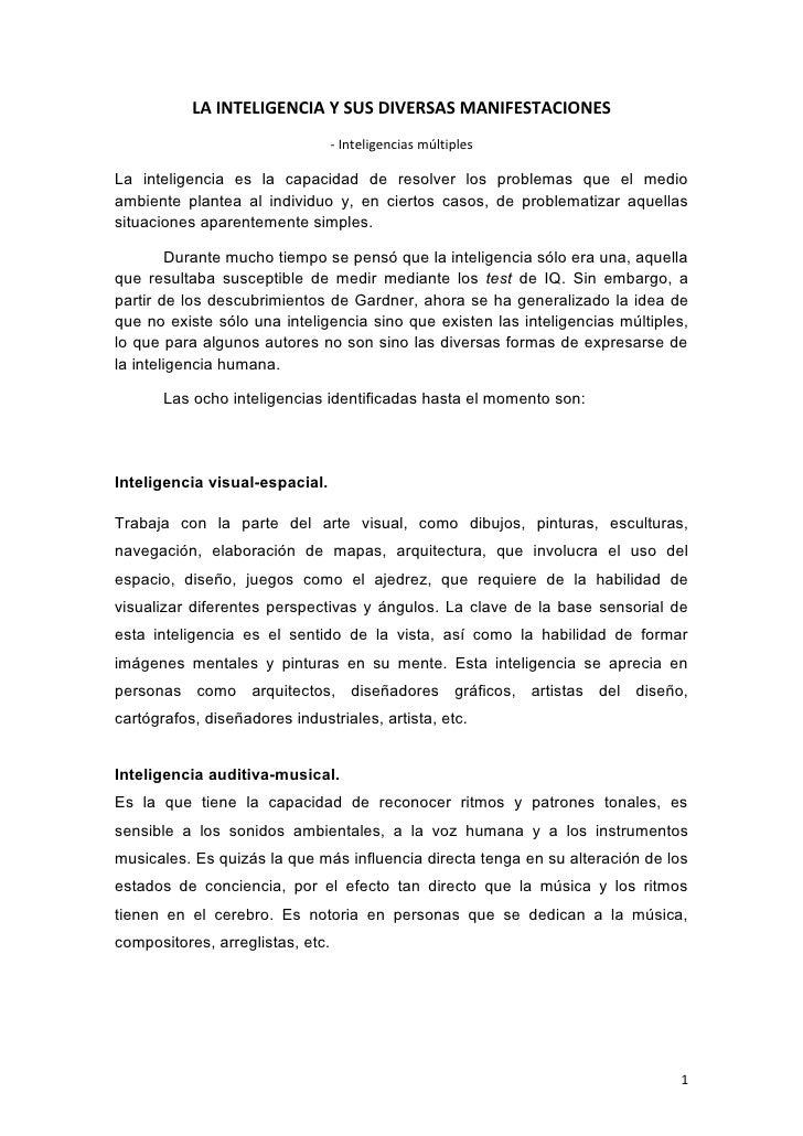 LA INTELIGENCIA Y SUS DIVERSAS MANIFESTACIONES                                   - Inteligencias múltiples  La inteligenci...
