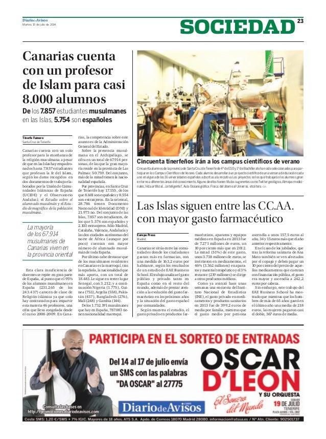 DiariodeAvisos Martes, 15 de julio de 2014 23 SOCIEDAD Canarias cuenta con un profesor de Islam para casi 8.000 alumnos De...