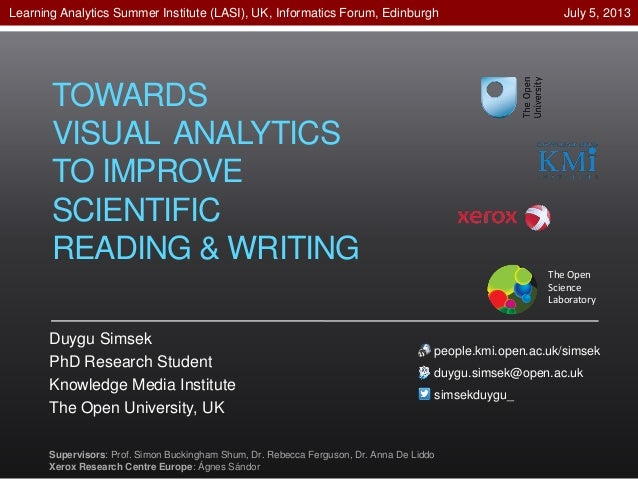 TOWARDS VISUAL ANALYTICS TO IMPROVE SCIENTIFIC READING & WRITING Duygu Simsek PhD Research Student Knowledge Media Institu...