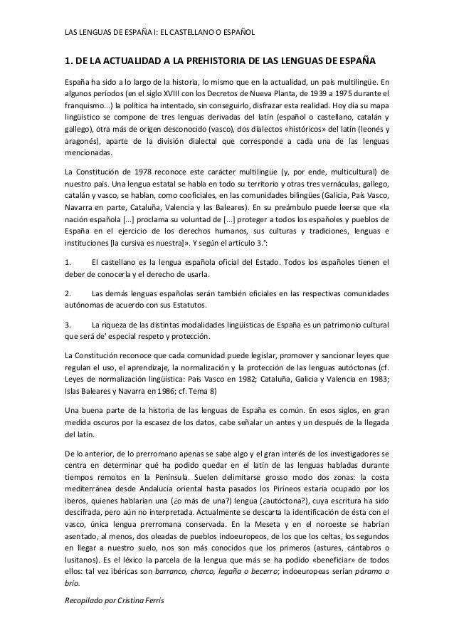 LAS LENGUAS DE ESPAÑA I: EL CASTELLANO O ESPAÑOL  1. DE LA ACTUALIDAD A LA PREHISTORIA DE LAS LENGUAS DE ESPAÑA  España ha...