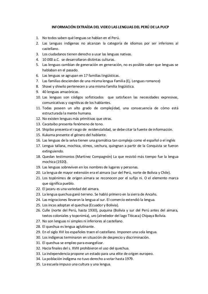 INFORMACIÓN EXTRAÍDA DEL VIDEO LAS LENGUAS DEL PERÚ DE LA PUCP<br />No todos saben qué lenguas se hablan en el Perú.<br />...