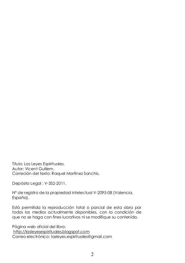 Titulo: Las Leyes Espirituales. Autor: Vicent Guillem. Correción del texto: Raquel Martínez Sanchis. Depósito Legal : V-35...