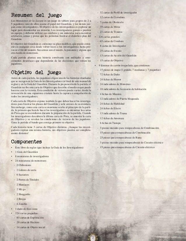 Las mansiones de la locura (Reglamento)