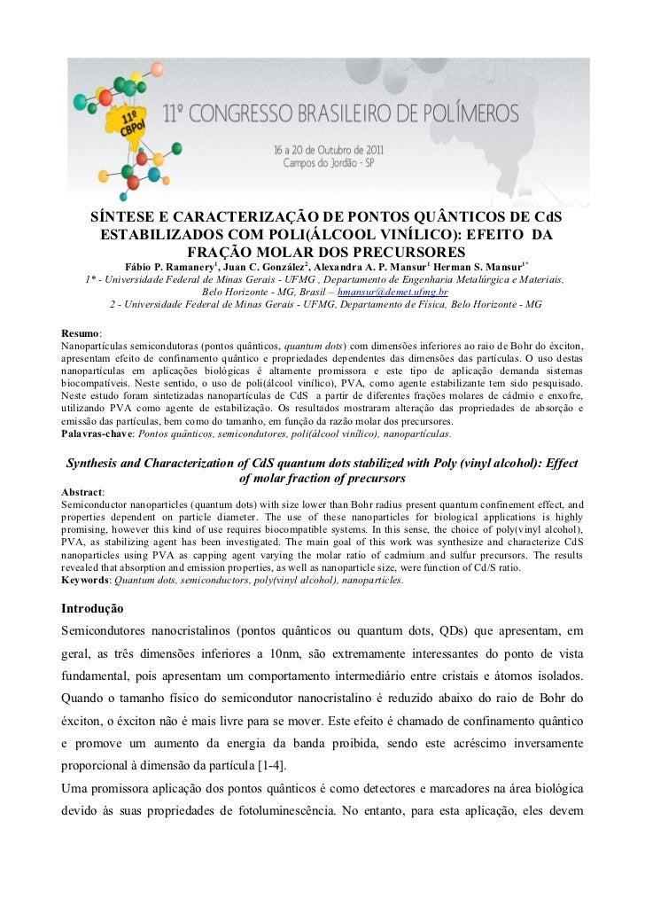 SÍNTESE E CARACTERIZAÇÃO DE PONTOS QUÂNTICOS DE CdS       ESTABILIZADOS COM POLI(ÁLCOOL VINÍLICO): EFEITO DA              ...