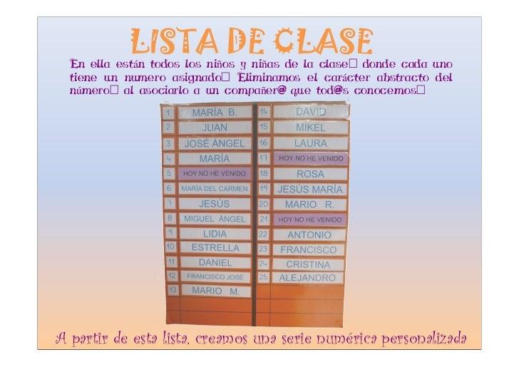 LISTA DE CLASE   En ella están todos los niños y niñas de la clase: donde cada uno   tiene un numero asignado: Eliminamos ...
