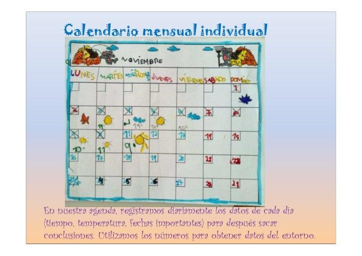 Calendario mensual individual     En nuestra agenda, registramos diariamente los datos de cada día (tiempo, temperatura, f...