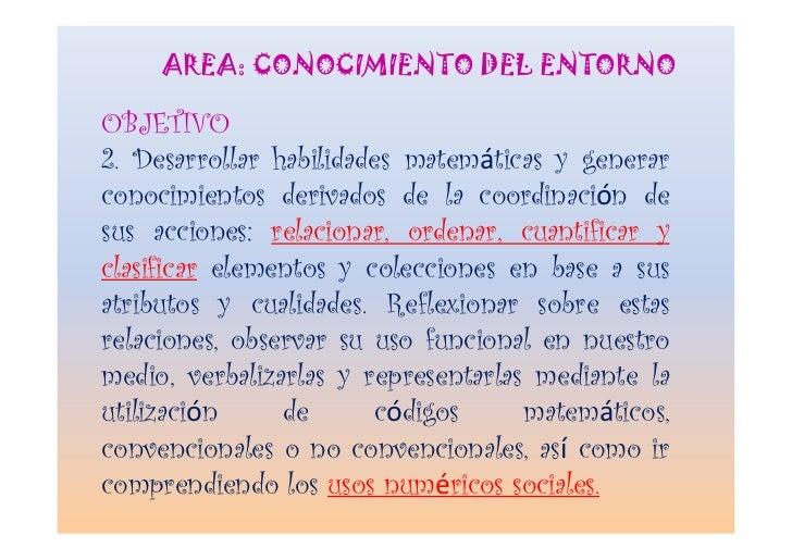 AREA: CONOCIMIENTO DEL ENTORNO  OBJETIVO 2. Desarrollar habilidades matemáticas y generar conocimientos derivados de la co...