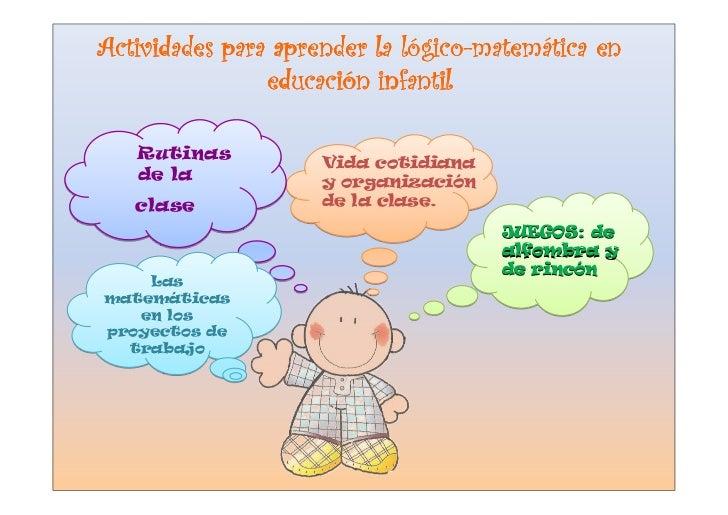 lógico-matemá Actividades para aprender la lógico-matemática en                 educació                 educación infanti...