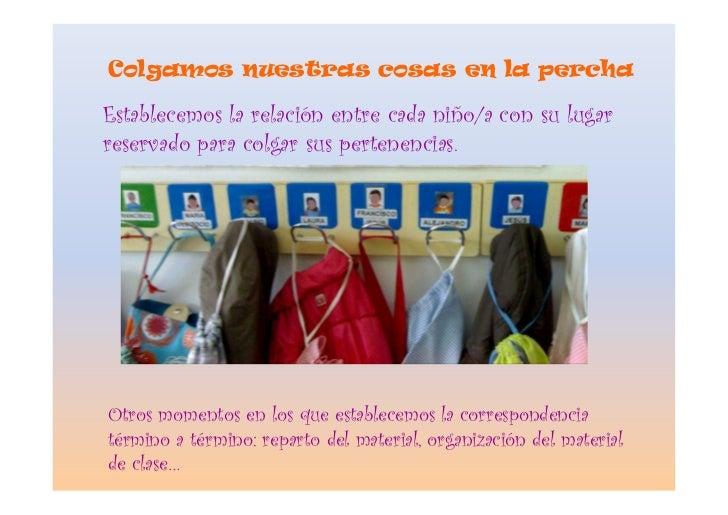 Colgamos nuestras cosas en la percha  Establecemos la relación entre cada niño/a con su lugar reservado para colgar sus pe...